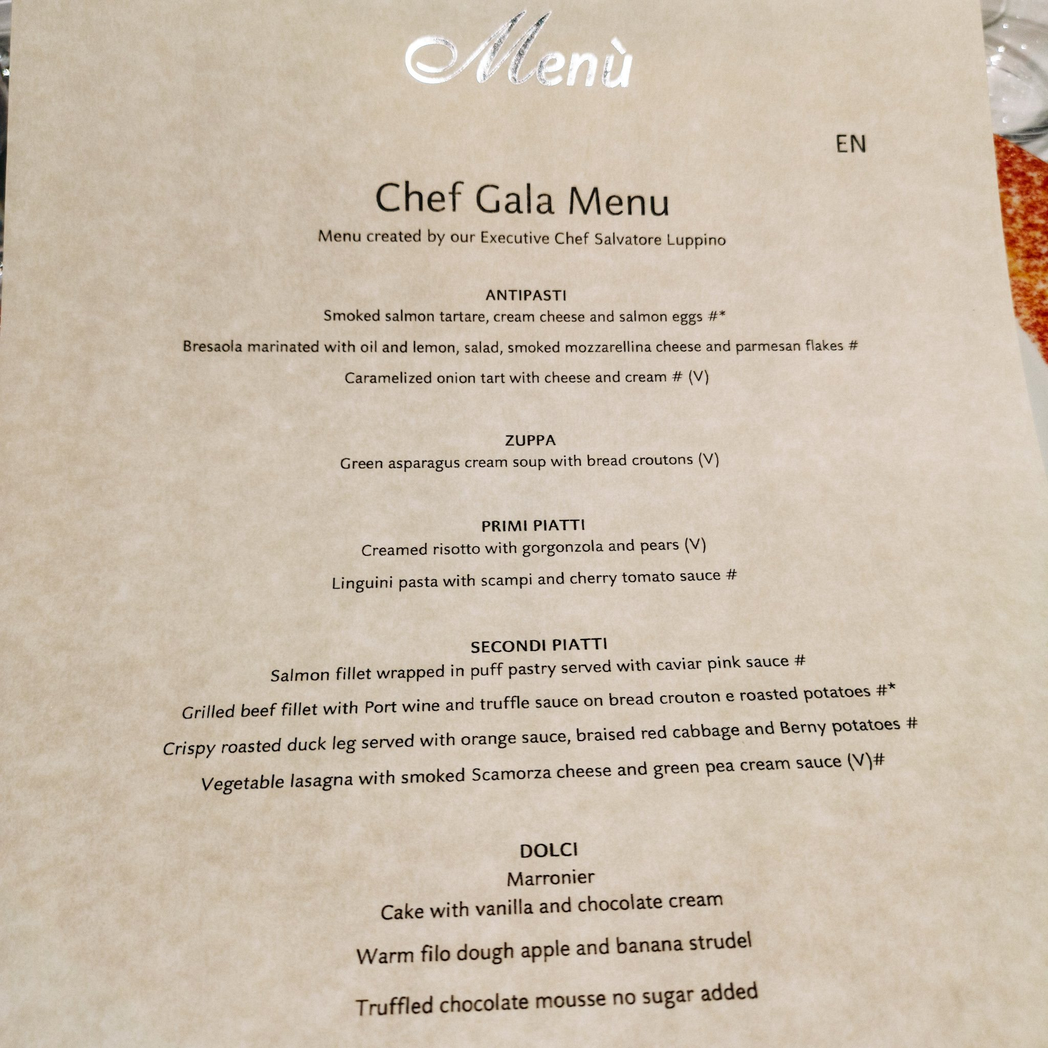 Costa Cruise Menu