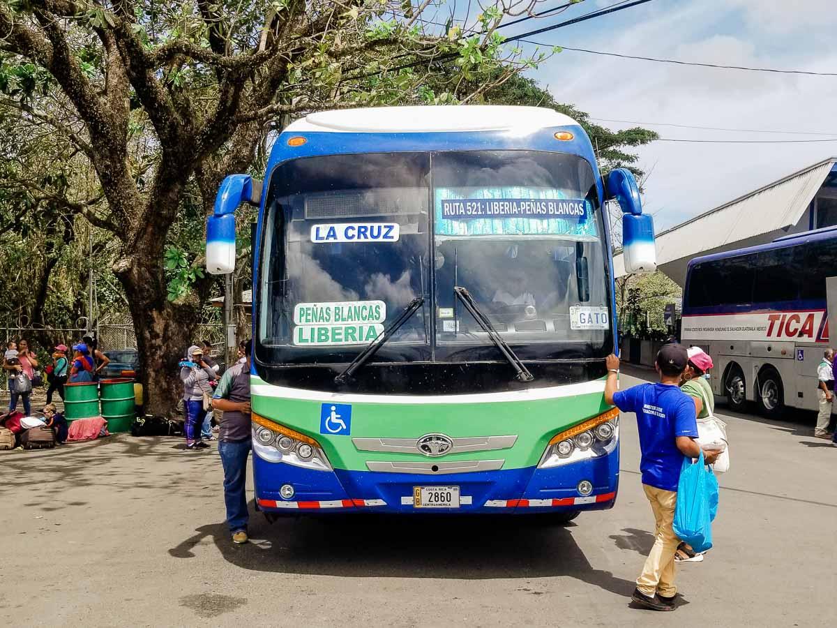 Bus from Liberia to Penas Blancas