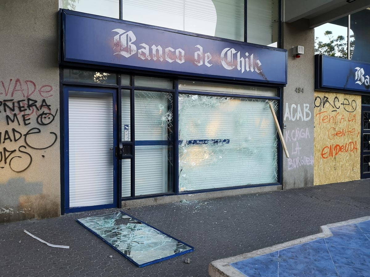 A smashed bank in Vina del Mar