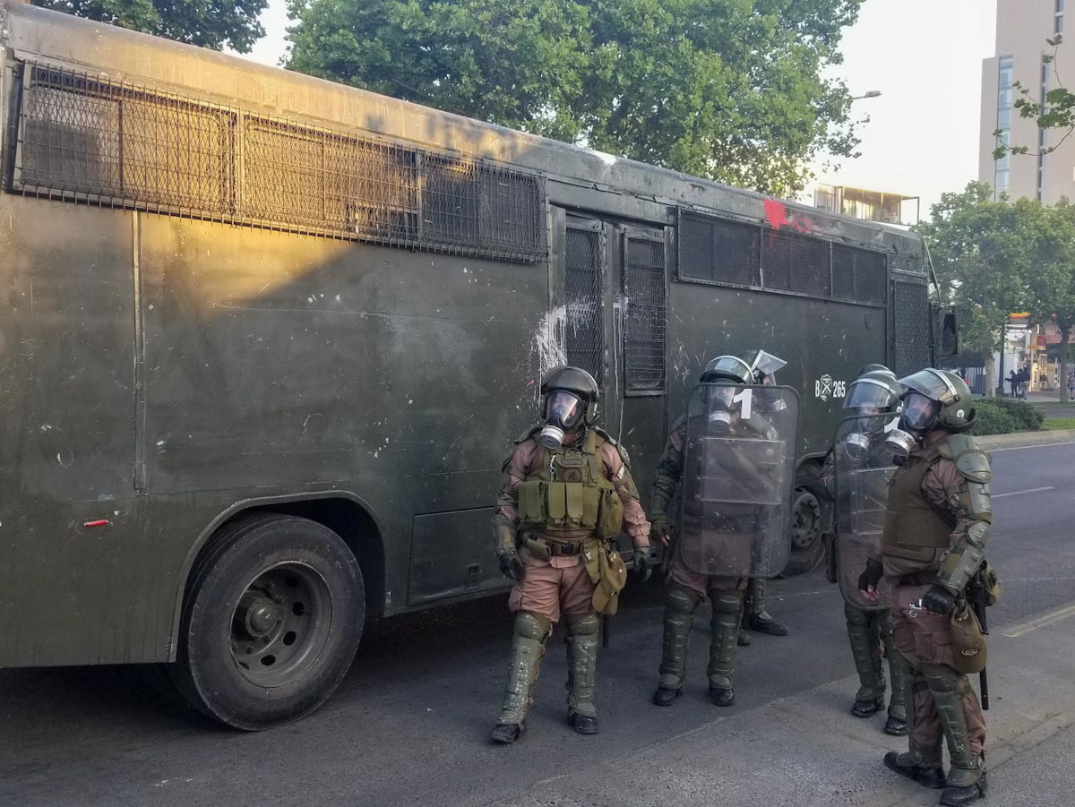 Riot police in Vina del Mar